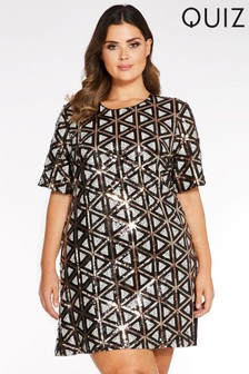Quiz Curve Sequin Cap Sleeve Tunic Dress