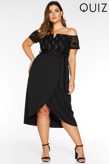 Quiz Curve Bardot Glitter Lace Wrap Dress