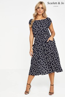 Scarlett & Jo Daisy Print Scoop Neck Pocket Dress