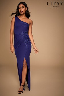 Lipsy One Shoulder Appliqué Pleated Maxi Dress