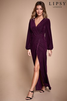 Lipsy Velvet Stripe Wrap Maxi Dress