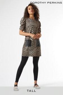 Dorothy Perkins Tall Leopard Pu Pocket Tunic