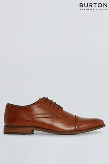 Burton Leather Look Brogue Detail Derby Shoes