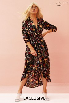 Never Fully Dressed Printed Wrap Dress
