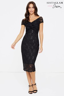 Sistaglam Loves Jessica Lace Knot Midi Dress