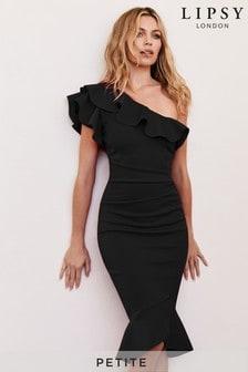 Облегающее платье на одно плечо для миниатюрных с оборкой и расклешенным подолом Abbey Clancy x Lipsy