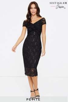 Sistaglam Loves Jessica Petite Lace Knot Midi Dress