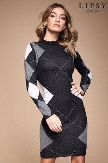 Lipsy Argyle Printed Dress