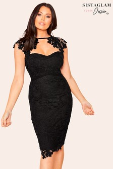 Sistaglam Loves Jessica Sweetheart Neck Midi Dress