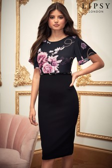 Lipsy Floral 2 In 1 Bodycon Dress