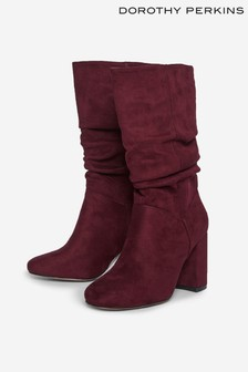 Dorothy Perkins Oxblood Kinder Ruched Boot