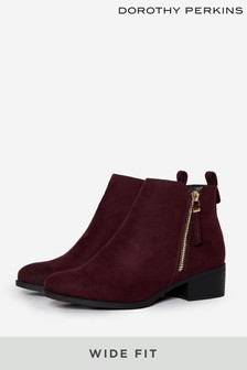 Dorothy Perkins Wide Fit Macro Zip Ankle Boot