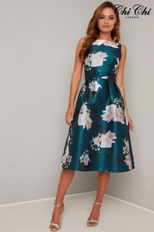 Chi Chi London Satin Printed Midi Dress