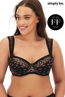 Simply Be Animal Lace Balcony Bra DD+