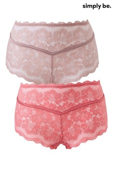 Simply Be Katie Lace Midi Shorts - Pack Of 2