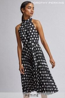 Dorothy Perkins Petite Spot Pleat Dress