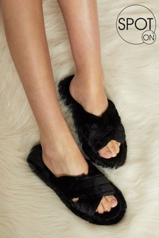 Spot On Faux Fur Cross Over Slipper