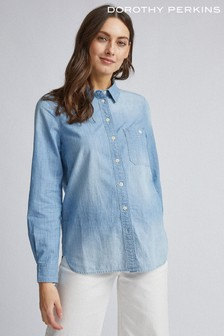 Dorothy Perkins Light Wash Denim Shirt