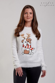 Broken Standard Fluffy Knit Sequin Bulldog Jumper
