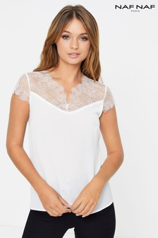 Naf Naf Lace Sleeve Top