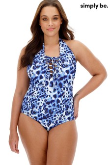 Simply Be Lace Up Front Textured Animal Swimsuit