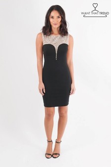 Want That Trend Diamanté Embellished Bodycon Dress