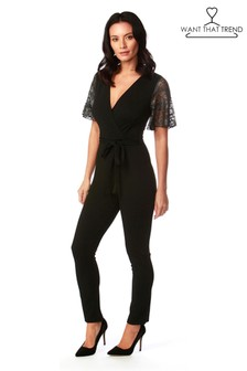 Want That Trend Mesh Sleeve Jumpsuit