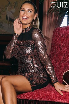Quiz x Sam Faiers Mesh Sequin Turtle Neck Bodycon Dress