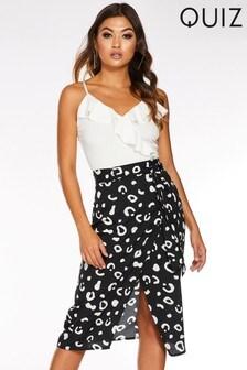 Quiz Leopard Print Wrap Midi Skirt