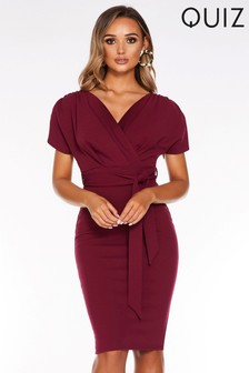 Quiz Batwing Wrap Tie Belt Midi Dress