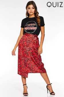 Quiz Mixed Animal Print Wrap Skirt