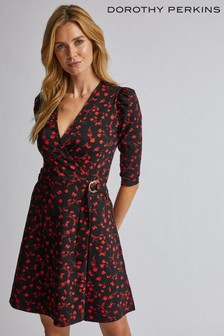 Dorothy Perkins Floral Buckle Detail Wrap Dress