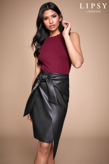 Lipsy Faux Leather Knot Detail Skirt