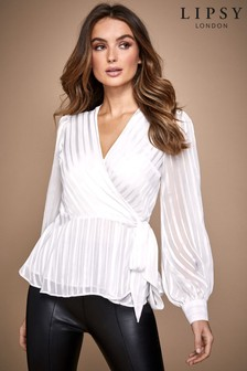 Lipsy Satin Stripe Wrap Top