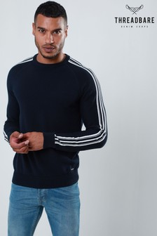 Threadbare Stripe Sleeve Crew Neck Knit Jumper