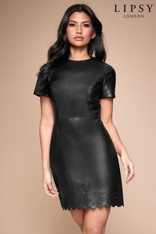 Lipsy Kleid aus Lederimitat mit Laserschnittmuster