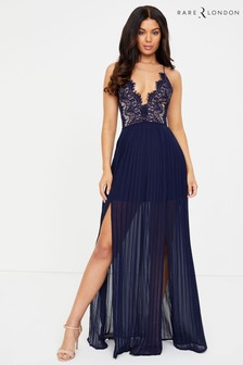 Rare Plunge Eyelash Lace Double Split Maxi Dress