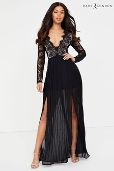 Rare Long Sleeve Eyelash Double Split Maxi Dress