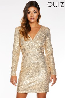 Quiz Sequin Wrap Front Long Sleeve Bodycon Dress