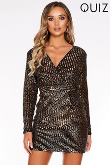 Quiz x Sam Faiers Sequin Wrap Front Long Sleeve Bodycon Dress