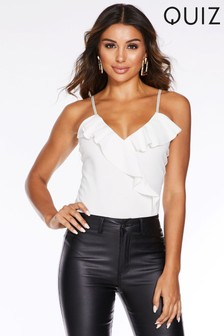 Quiz Strappy V neck Frill Front Bodysuit