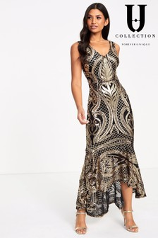 Forever Unique Sequin Flute Hem Maxi Dress