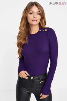 Urban Bliss Button Stand Neck Jumper