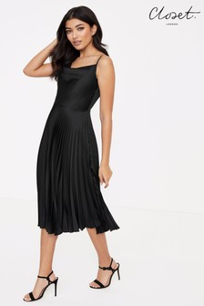 Closet Cowl Neck Pleated Dress