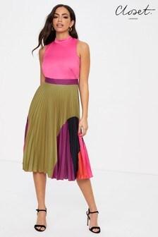 Closet Gold Pleated Skirt Dress