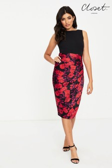Closet 2-In-1 Pleated Pencil Dress