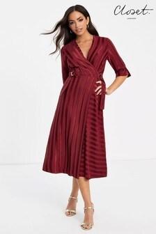 Closet Wrap Dress With 3/4 Sleeve