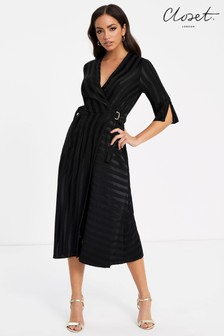 Closet Wrap Dress With 3/4 Sleeve