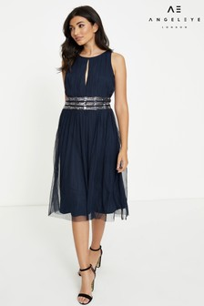 Angeleye Keyhole Embellished Waist Midi Dress