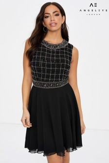 Angeleye Grid Embellished Sleeveless Mini Dress